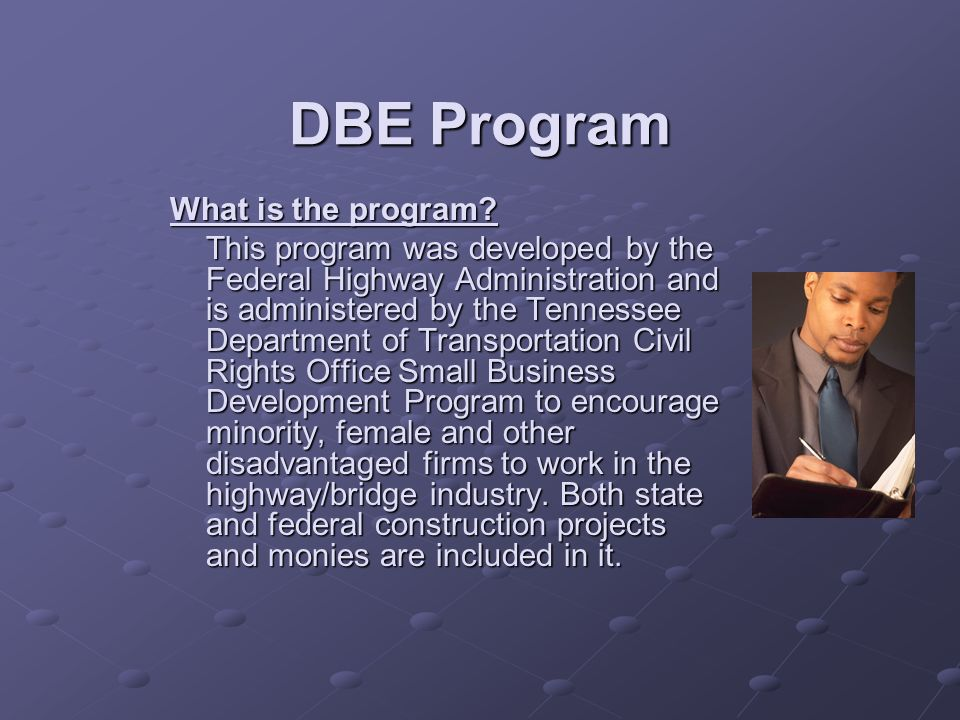 What is the program? This program was developed by the Federal Highway Administration and is administered by the Tennessee Department of Transportatio