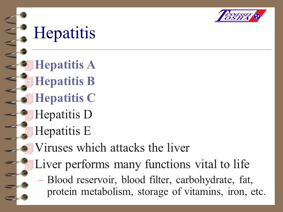 Hepatitis A 4 Caused by infection with Hepatitis A virus (HAV) 4 Virus is found in the stool of infected persons 4 HAV is usually spread from person to person by putting something in the mouth (even though it may look clean) that has been contaminated with the stool of a person with hepatitis A 4 Hepatitis A infection occurs in epidemics both nationwide and in communities 4 Hepatitis A is NOT bloodborne and, therefore, is NOT covered by the bloodborne pathogen standard