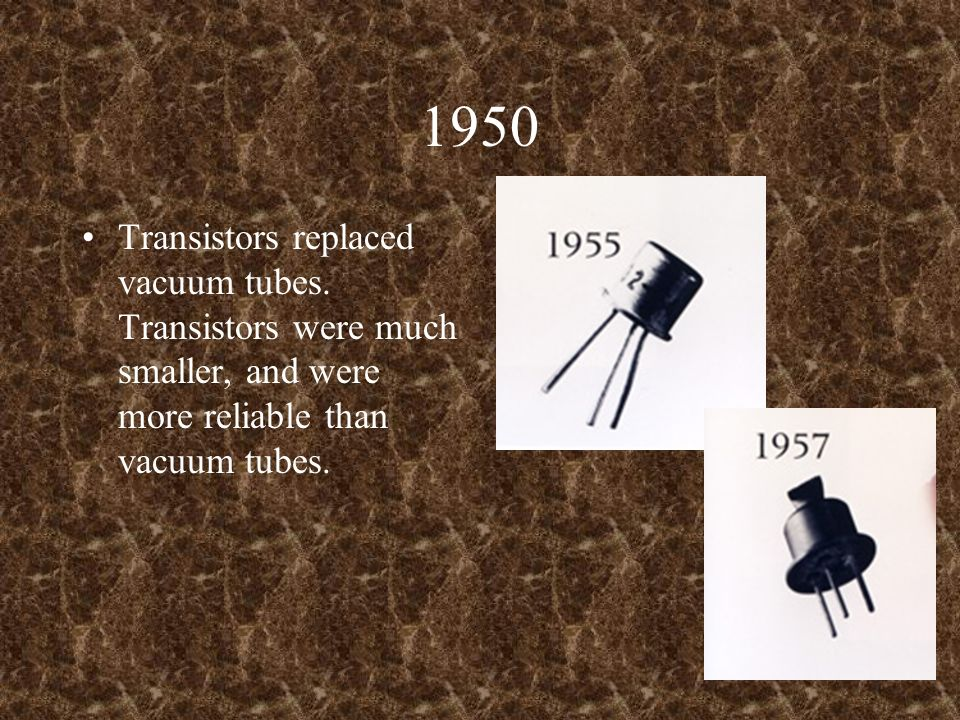 1950 Transistors replaced vacuum tubes. Transistors were much smaller, and were more reliable than vacuum tubes.