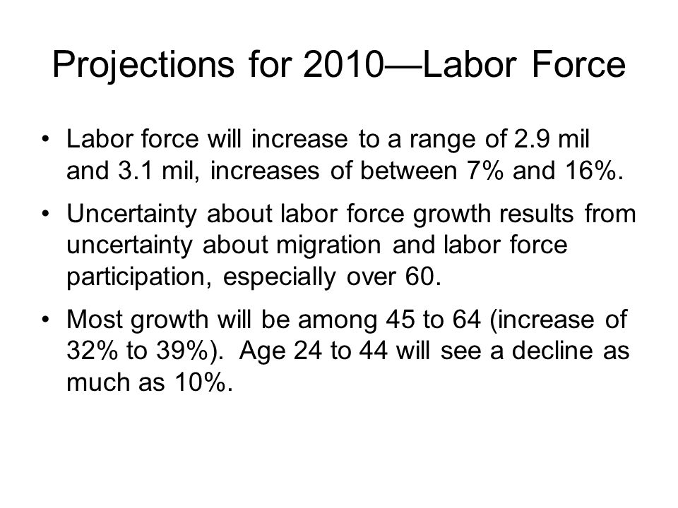 Projections for 2010Labor Force Labor force will increase to a range of 2.9 mil and 3.1 mil, increases of between 7% and 16%. Uncertainty about labor