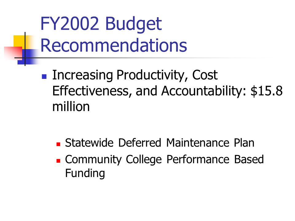 FY2002 Budget Recommendations Increasing Productivity, Cost Effectiveness, and Accountability: $15.8 million Statewide Deferred Maintenance Plan Commu