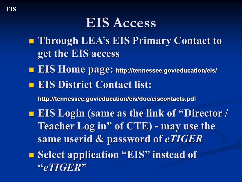 EIS Access EIS Through LEAs EIS Primary Contact to get the EIS access Through LEAs EIS Primary Contact to get the EIS access EIS Home page: http://ten
