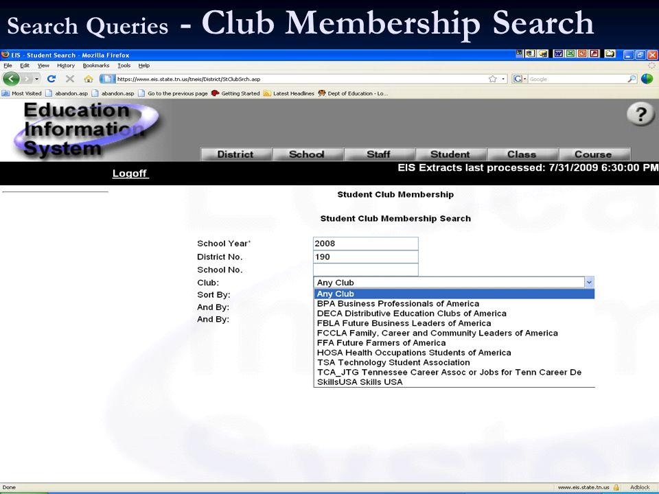 Search Queries - Club Membership Search