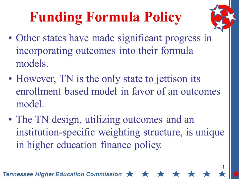 11 Tennessee Higher Education Commission Other states have made significant progress in incorporating outcomes into their formula models.