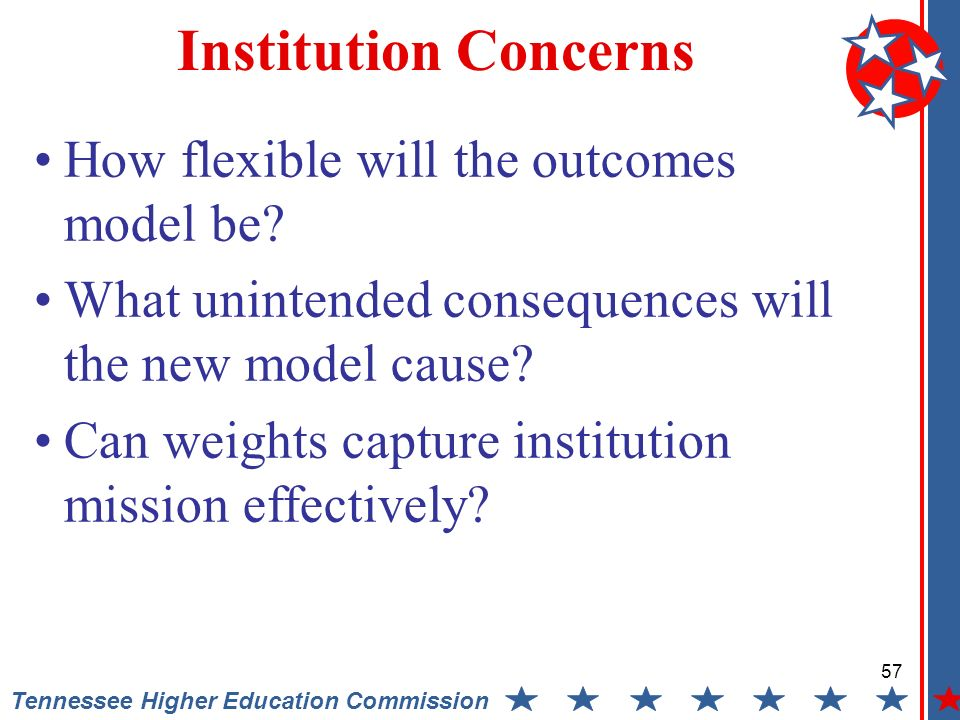 57 Tennessee Higher Education Commission Institution Concerns How flexible will the outcomes model be.