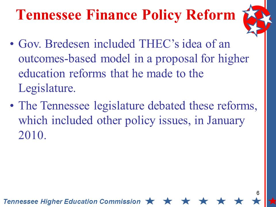 6 Tennessee Higher Education Commission Tennessee Finance Policy Reform Gov.