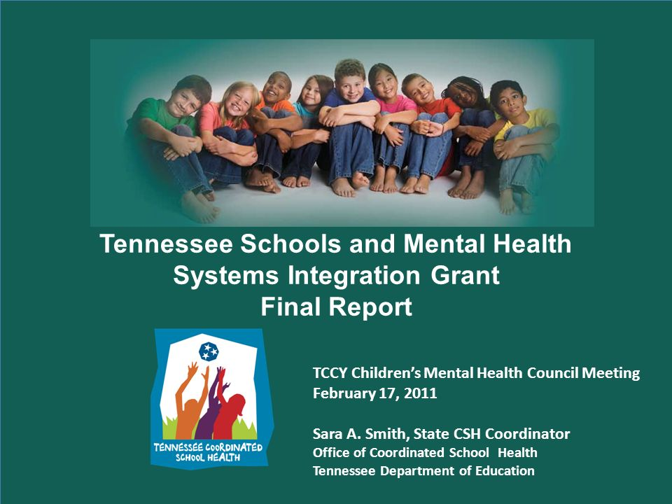 Tennessee Schools and Mental Health Systems Integration Grant Final Report TCCY Childrens Mental Health Council Meeting February 17, 2011 Sara A.