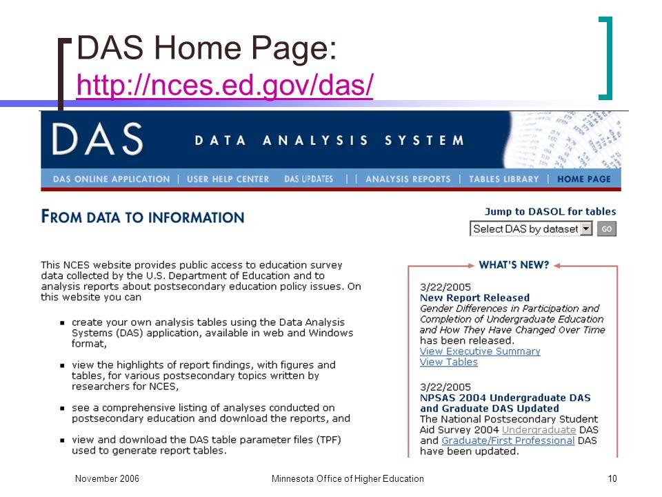 November 2006Minnesota Office of Higher Education10 DAS Home Page: http://nces.ed.gov/das/