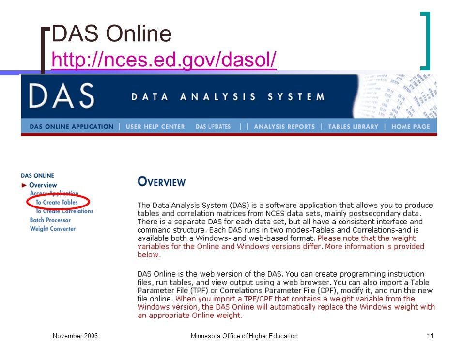 November 2006Minnesota Office of Higher Education11 DAS Online http://nces.ed.gov/dasol/