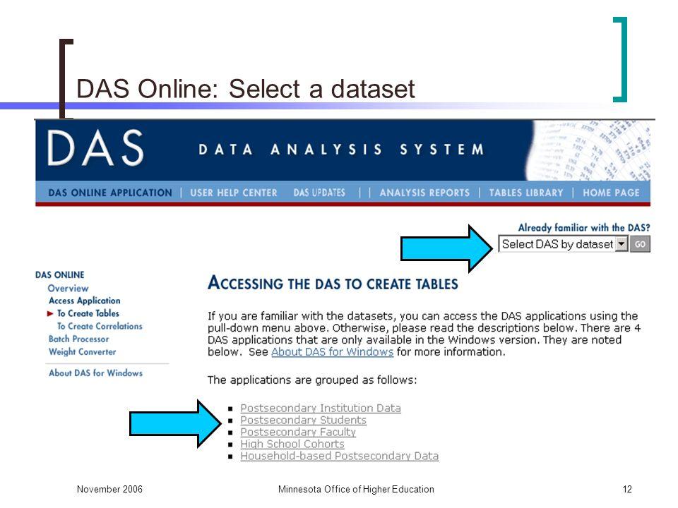 November 2006Minnesota Office of Higher Education12 DAS Online: Select a dataset