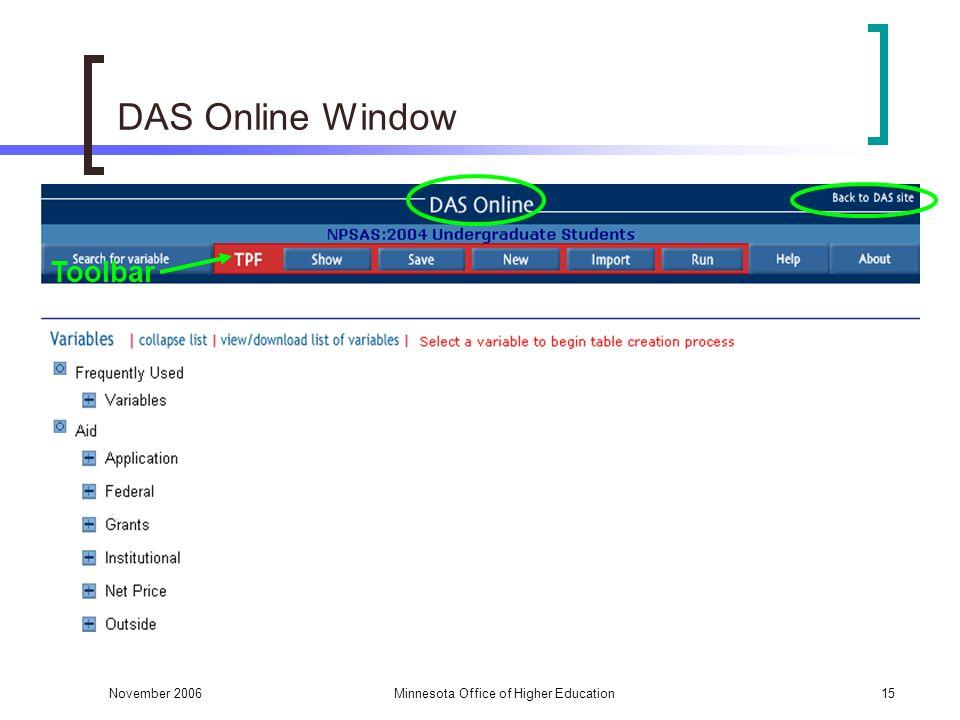 November 2006Minnesota Office of Higher Education15 DAS Online Window Toolbar