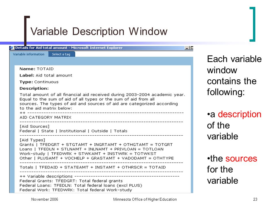 November 2006Minnesota Office of Higher Education23 Variable Description Window Each variable window contains the following: a description of the variable the sources for the variable