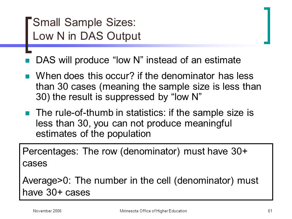 November 2006Minnesota Office of Higher Education61 Small Sample Sizes: Low N in DAS Output DAS will produce low N instead of an estimate When does this occur.