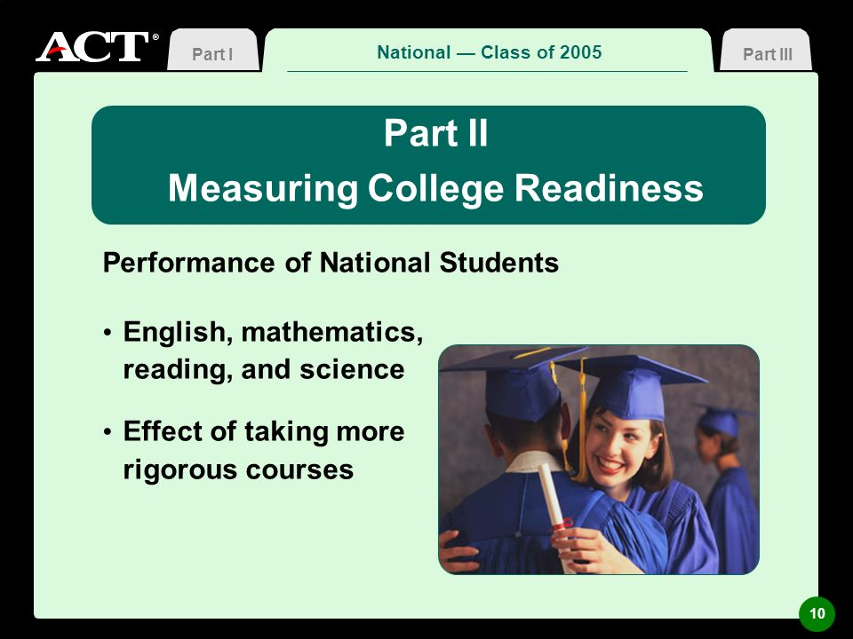 ® Measuring College Readiness Performance of National Students English, mathematics, reading, and science Effect of taking more rigorous courses Natio