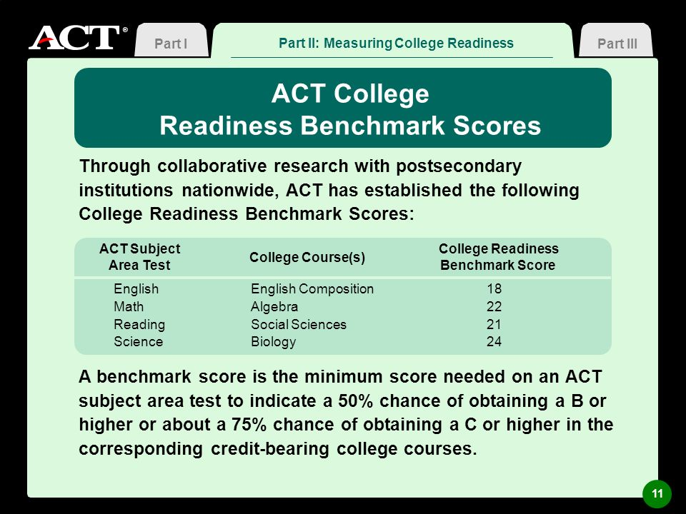 ® ACT College Readiness Benchmark Scores Through collaborative research with postsecondary institutions nationwide, ACT has established the following