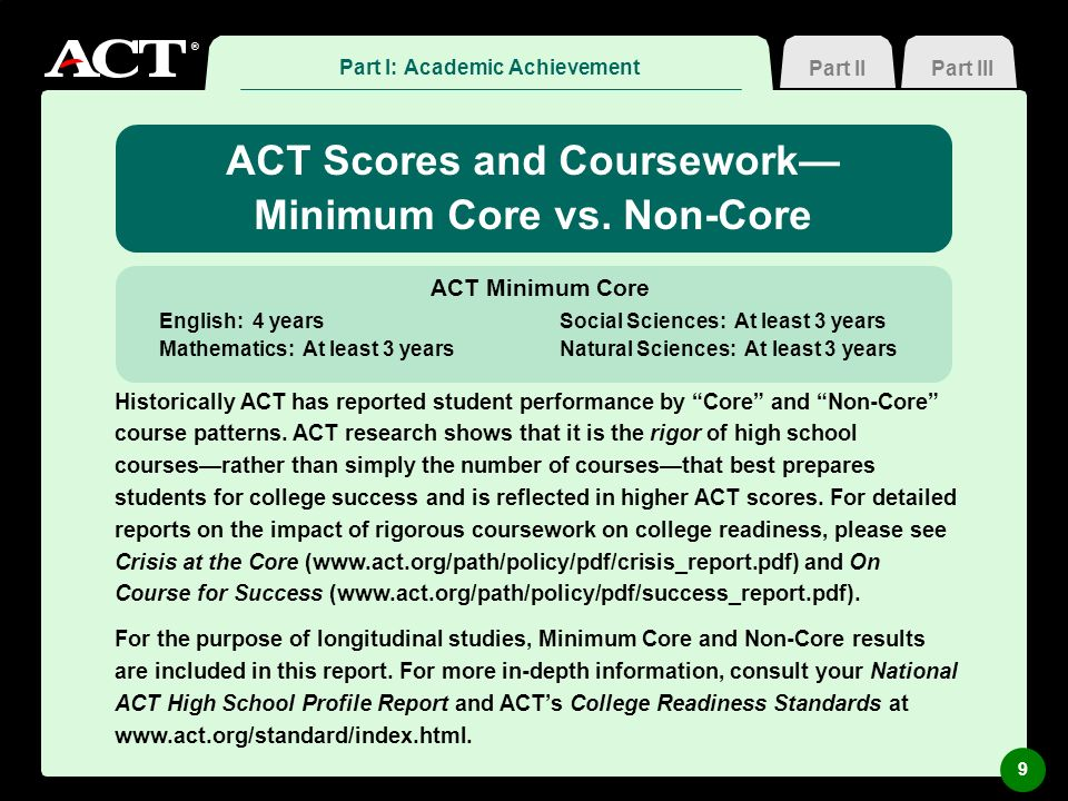 ® Part III ACT Scores and Coursework Minimum Core vs. Non-Core Historically ACT has reported student performance by Core and Non-Core course patterns.