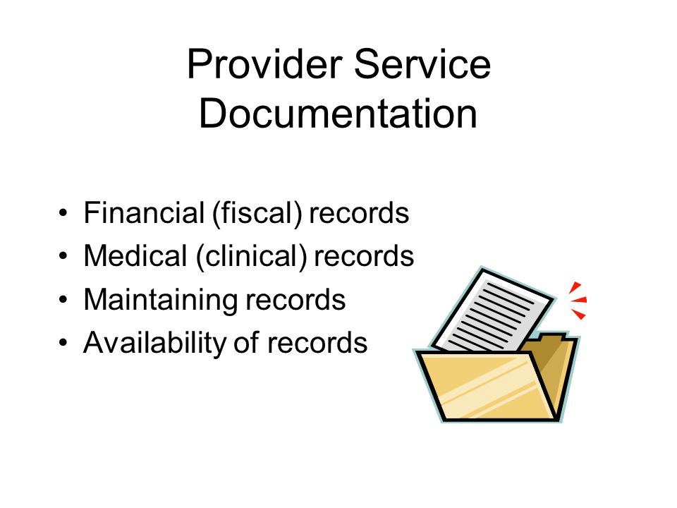 Provider Service Documentation Financial (fiscal) records Medical (clinical) records Maintaining records Availability of records
