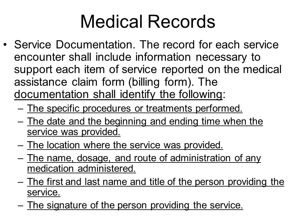 Medical Records Service Documentation.