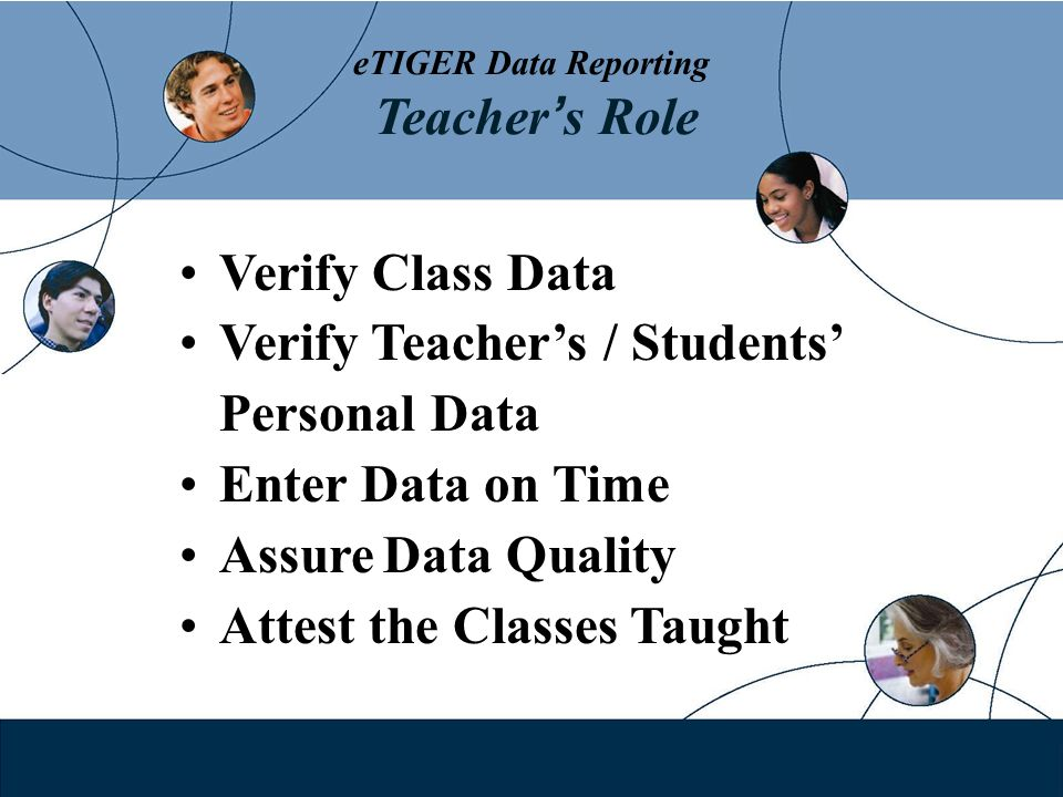eTIGER Data Reporting Teacher s Role Verify Class Data Verify Teachers / Students Personal Data Enter Data on Time Assure Data Quality Attest the Classes Taught