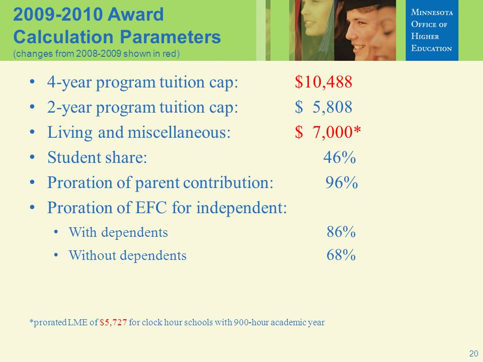 20 2009-2010 Award Calculation Parameters (changes from 2008-2009 shown in red) 4-year program tuition cap:$10,488 2-year program tuition cap:$ 5,808