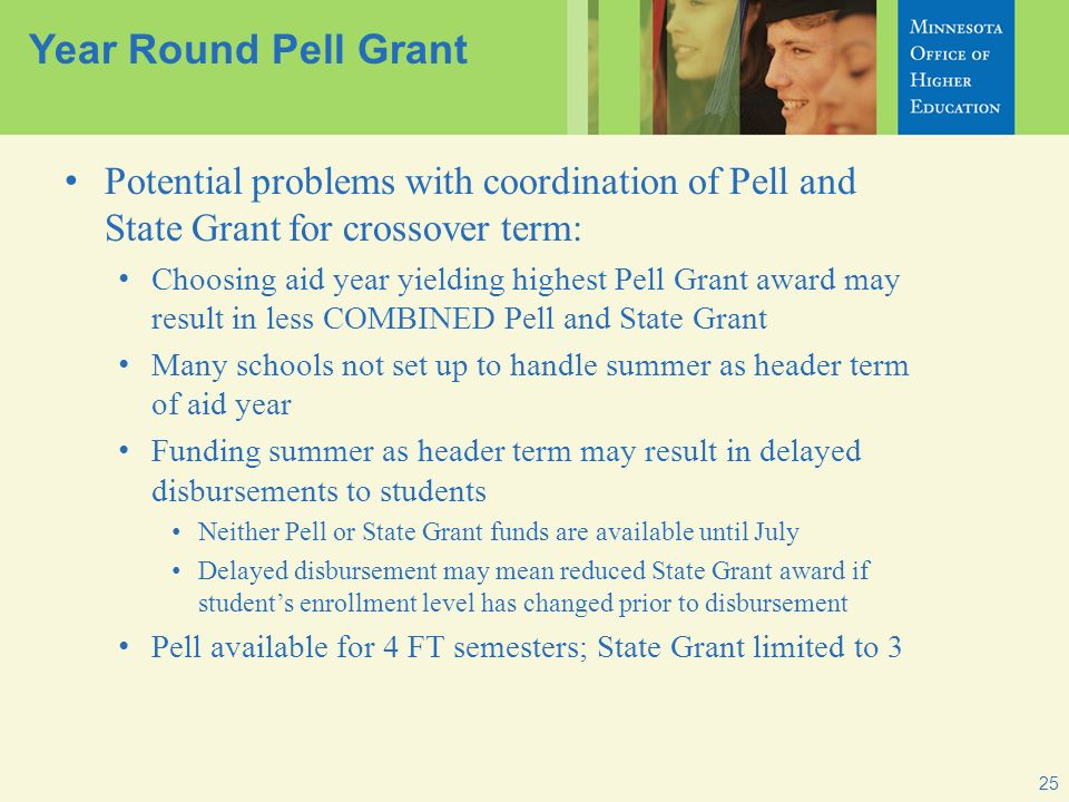 25 Year Round Pell Grant Potential problems with coordination of Pell and State Grant for crossover term: Choosing aid year yielding highest Pell Gran