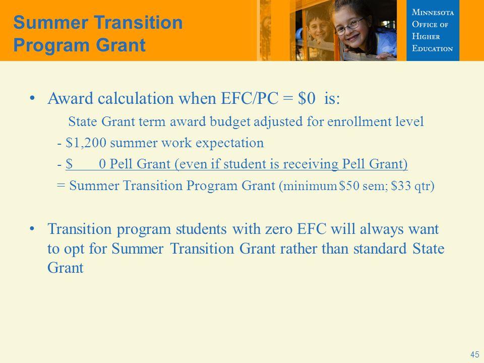 Summer Transition Program Grant Award calculation when EFC/PC = $0 is: State Grant term award budget adjusted for enrollment level - $1,200 summer wor