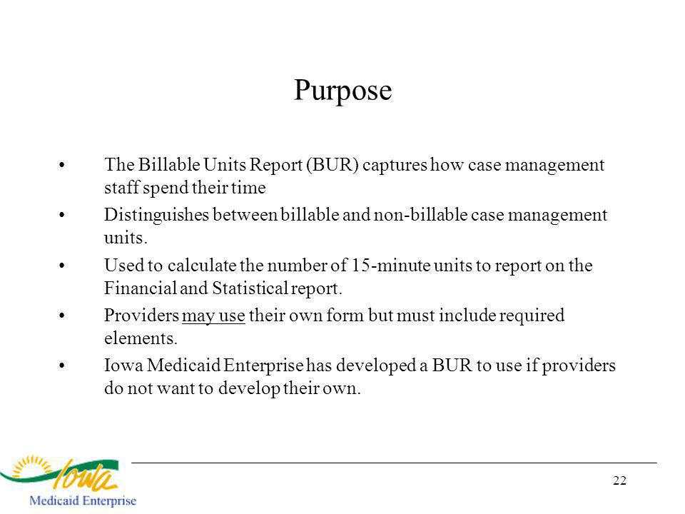 22 Purpose The Billable Units Report (BUR) captures how case management staff spend their time Distinguishes between billable and non-billable case management units.