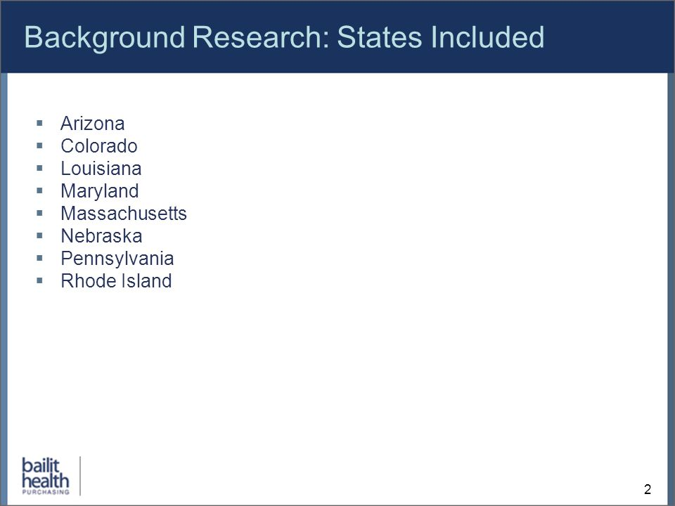2 Background Research: States Included Arizona Colorado Louisiana Maryland Massachusetts Nebraska Pennsylvania Rhode Island