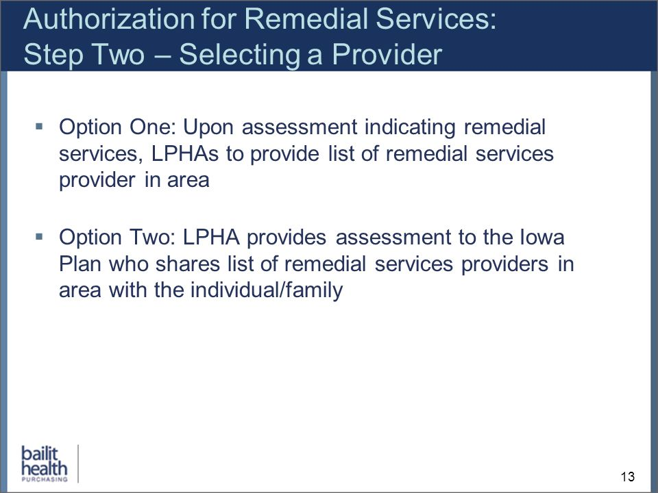 13 Authorization for Remedial Services: Step Two – Selecting a Provider Option One: Upon assessment indicating remedial services, LPHAs to provide list of remedial services provider in area Option Two: LPHA provides assessment to the Iowa Plan who shares list of remedial services providers in area with the individual/family
