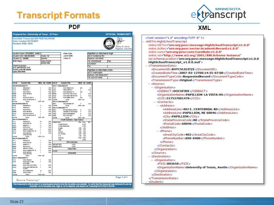 Slide 23 PDF XML Transcript Formats