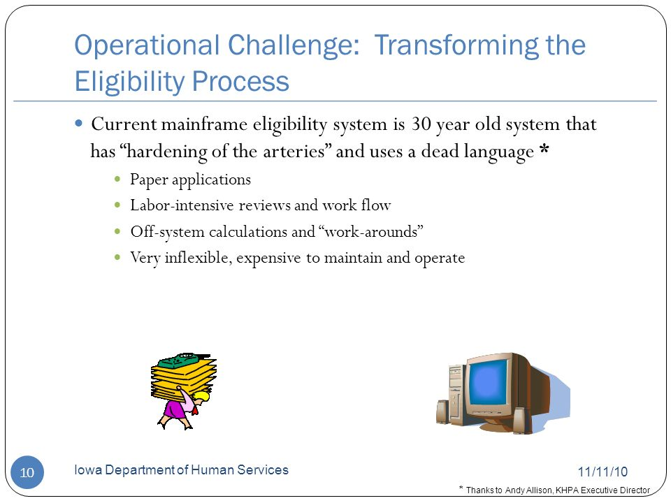 Operational Challenge: Transforming the Eligibility Process 11/11/10 Iowa Department of Human Services 10 Current mainframe eligibility system is 30 year old system that has hardening of the arteries and uses a dead language * Paper applications Labor-intensive reviews and work flow Off-system calculations and work-arounds Very inflexible, expensive to maintain and operate * Thanks to Andy Allison, KHPA Executive Director