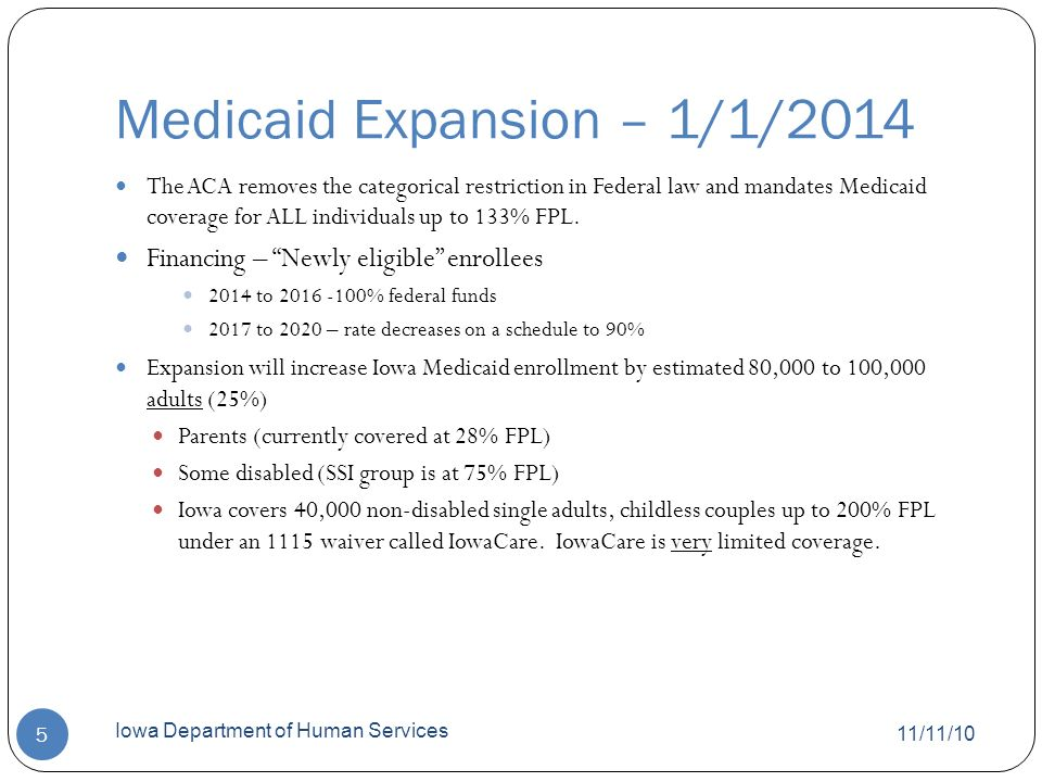Eligibility Policy Options/Opportunities 11/11/10 Iowa Department of Human Services 6 Current Medicaid coverage goes above 133% FPL for some groups Do we continue those groups.