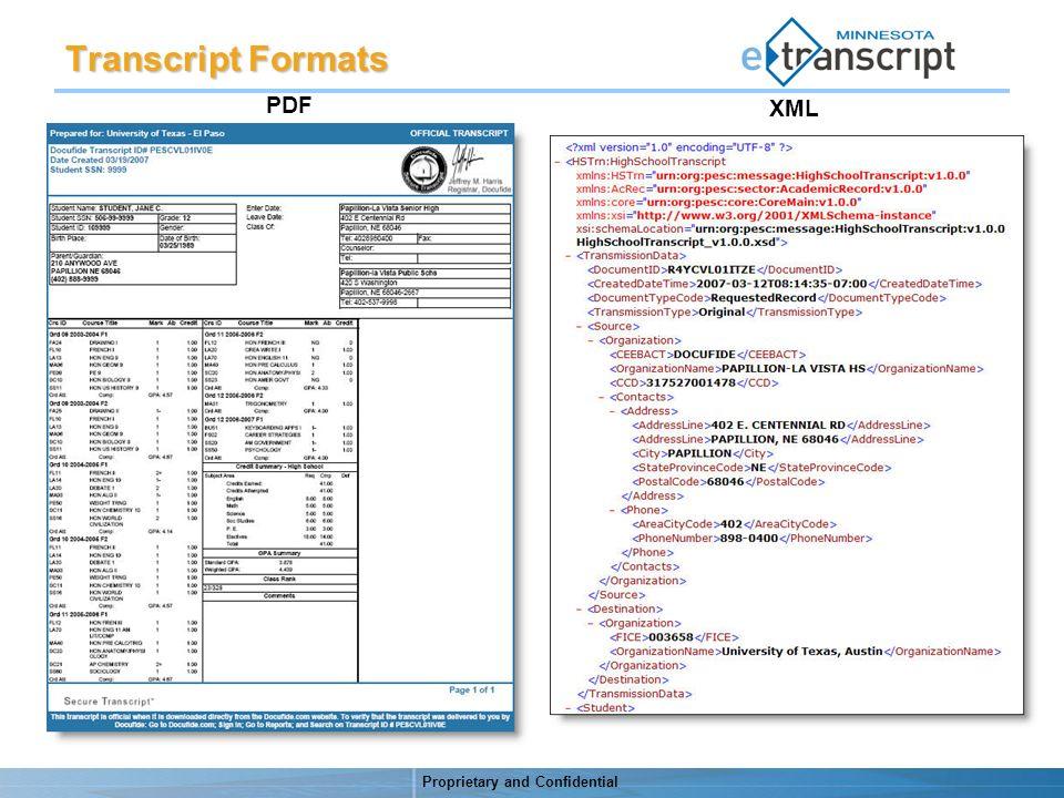 Proprietary and Confidential PDF XML Transcript Formats