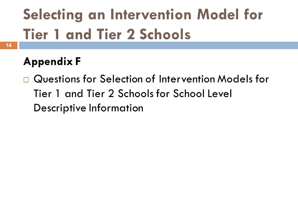 TRANSFORMATION Model Overview 13 Teachers and Leaders Replace principal Implement new evaluation system Developed with staff Uses student growth as a