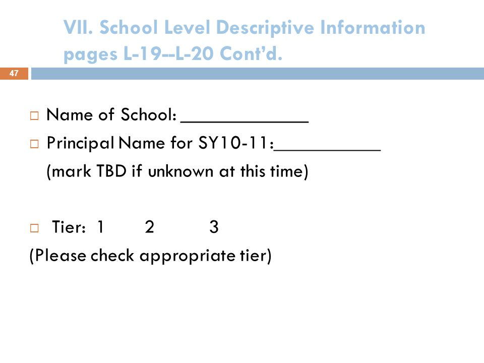 VII. School Level Descriptive Information pages L-19--L-20 This section must be submitted electronically for each individual school that will be serve