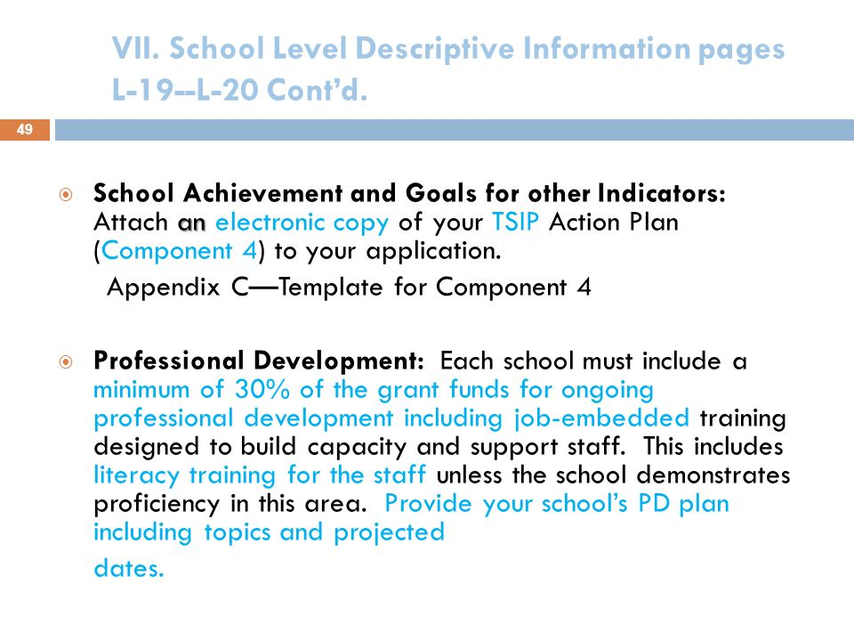 VII. School Level Descriptive Information pages L-19--L-20 Contd. Needs of School: All and disaggregated Student Achievement Data Insert most recent T