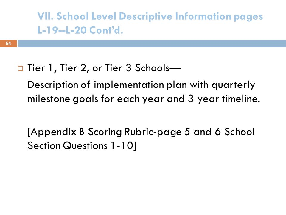 VII. School Level Descriptive Information pages L- 19--L-20 Contd. Tier 3 Focus Schools only( Title I schools in School Improvement I or II) Intervent