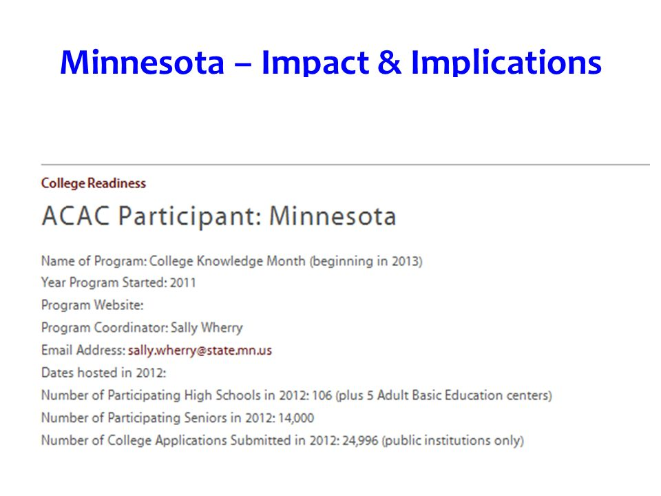Minnesota – Impact & Implications