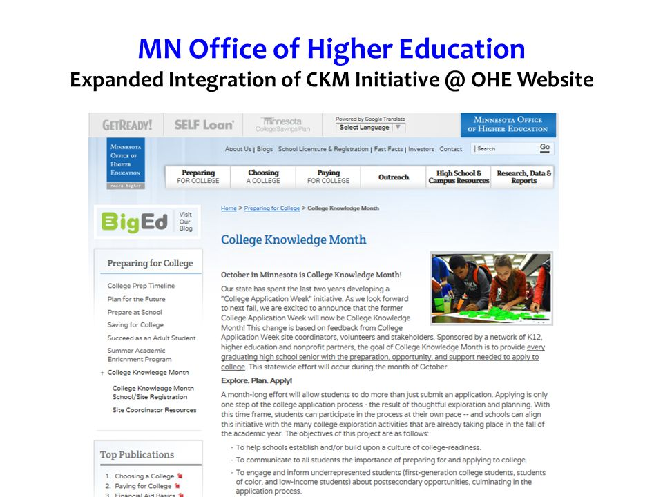 MN Office of Higher Education Expanded Integration of CKM Initiative @ OHE Website