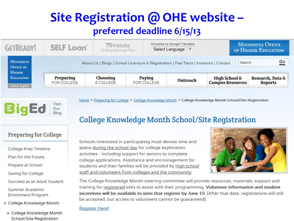 Site OHE website – preferred deadline 6/15/13