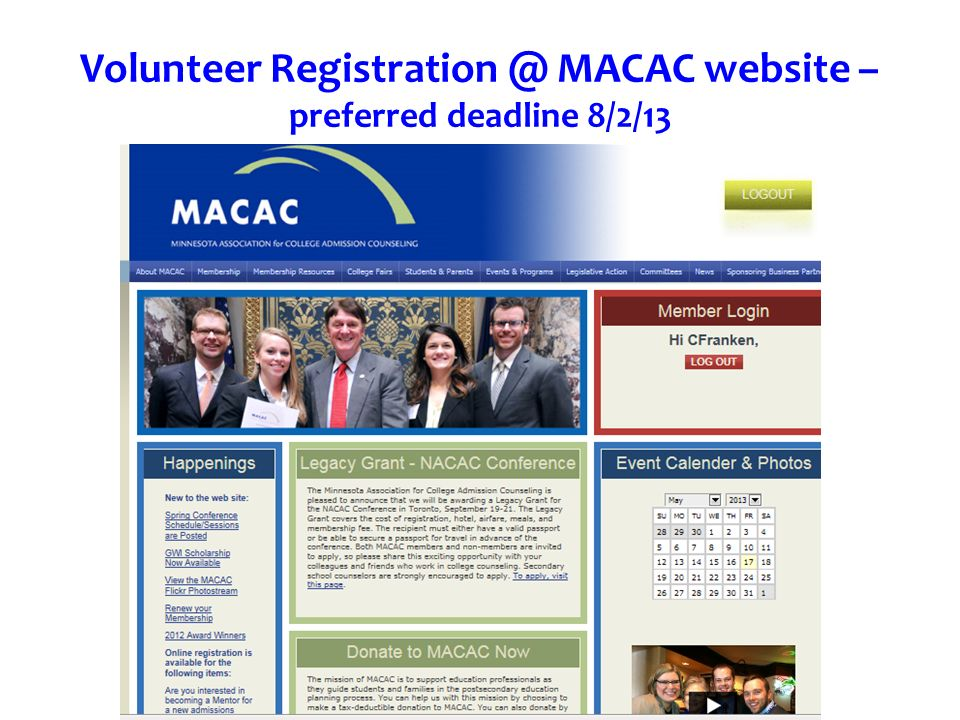 Volunteer Registration @ MACAC website – preferred deadline 8/2/13