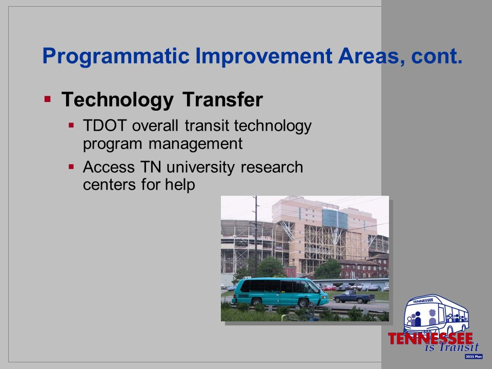 Programmatic Improvement Areas, cont. Technology Transfer TDOT overall transit technology program management Access TN university research centers for