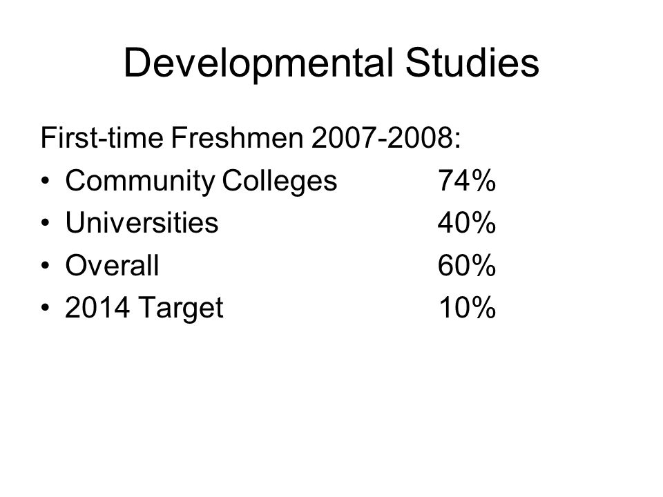 Developmental Studies First-time Freshmen 2007-2008: Community Colleges 74% Universities40% Overall60% 2014 Target10%