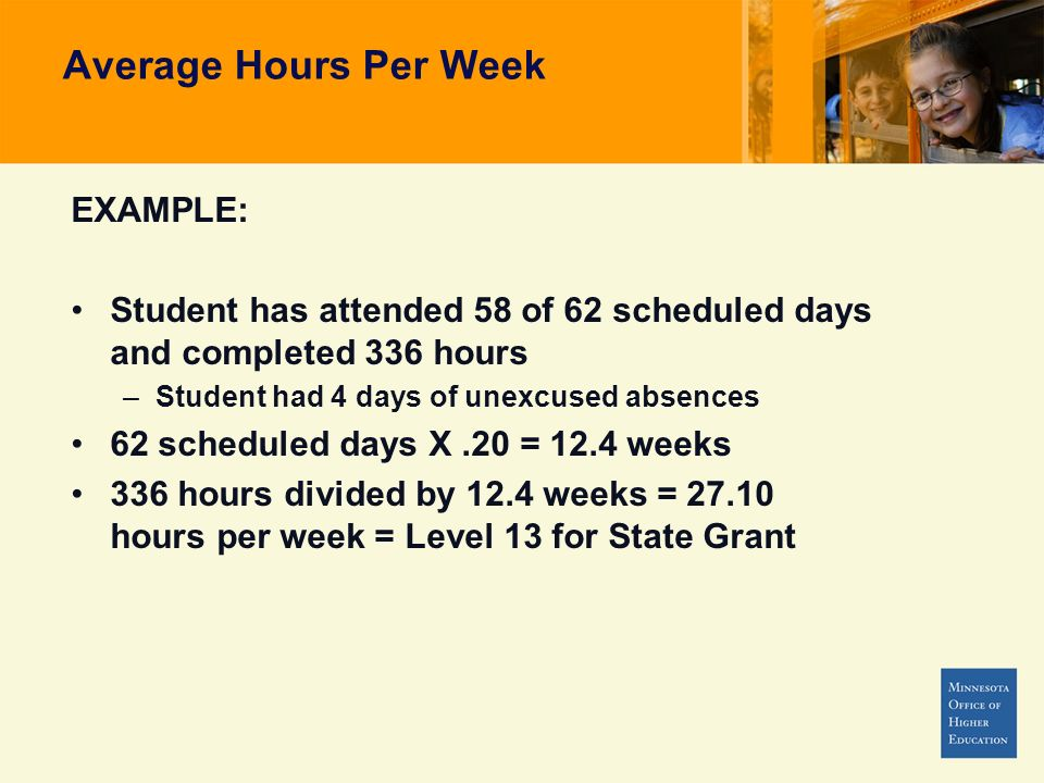 Average Hours Per Week EXAMPLE: Student has attended 58 of 62 scheduled days and completed 336 hours –Student had 4 days of unexcused absences 62 scheduled days X.20 = 12.4 weeks 336 hours divided by 12.4 weeks = 27.10 hours per week = Level 13 for State Grant