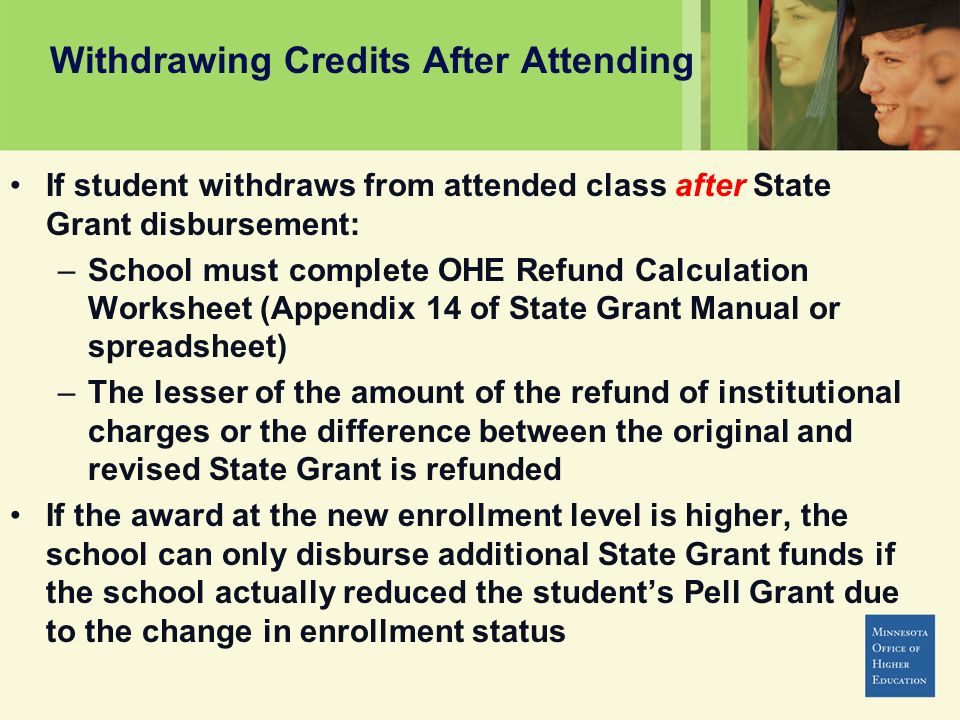 Withdrawing Credits After Attending If student withdraws from attended class after State Grant disbursement: –School must complete OHE Refund Calculation Worksheet (Appendix 14 of State Grant Manual or spreadsheet) –The lesser of the amount of the refund of institutional charges or the difference between the original and revised State Grant is refunded If the award at the new enrollment level is higher, the school can only disburse additional State Grant funds if the school actually reduced the students Pell Grant due to the change in enrollment status