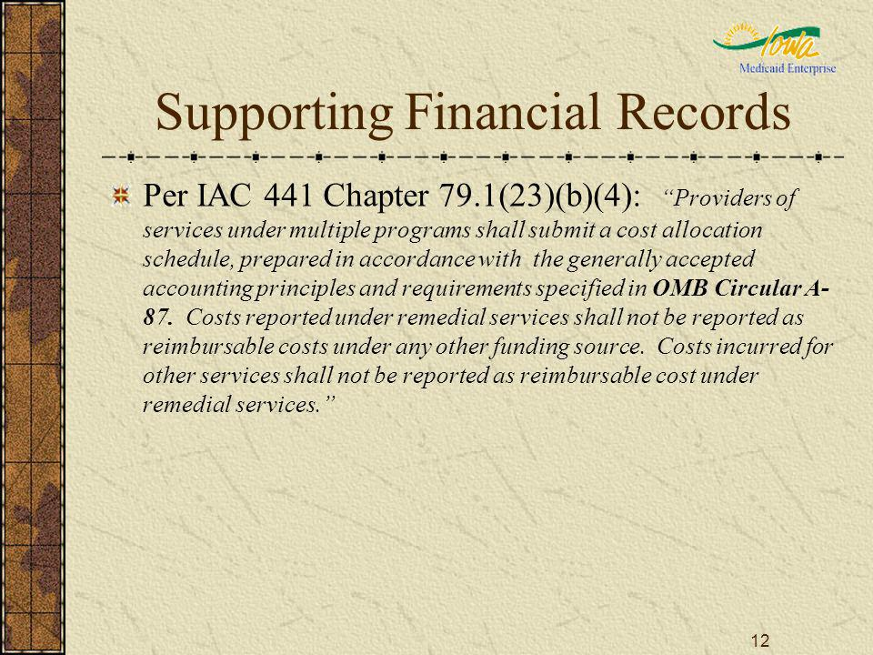 12 Supporting Financial Records Per IAC 441 Chapter 79.1(23)(b)(4): Providers of services under multiple programs shall submit a cost allocation sched