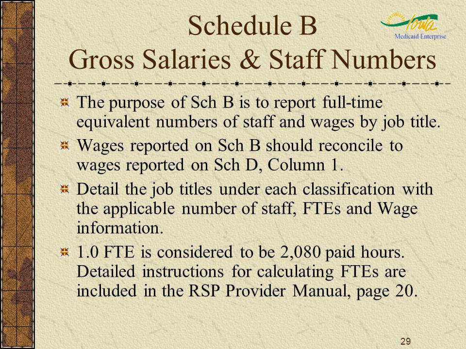 29 Schedule B Gross Salaries & Staff Numbers The purpose of Sch B is to report full-time equivalent numbers of staff and wages by job title. Wages rep