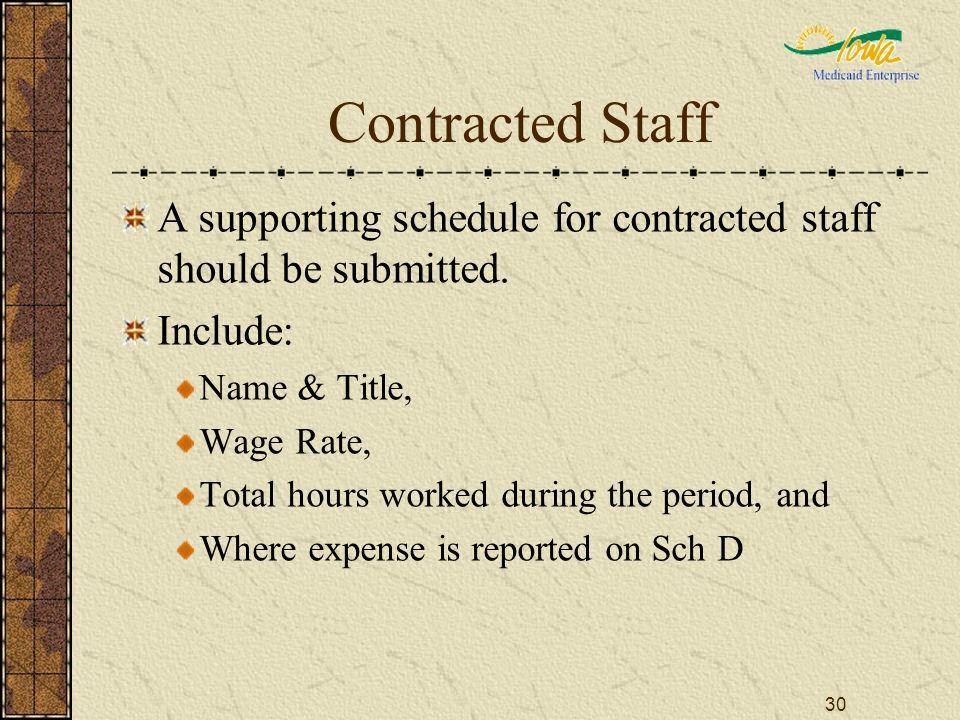 30 Contracted Staff A supporting schedule for contracted staff should be submitted. Include: Name & Title, Wage Rate, Total hours worked during the pe