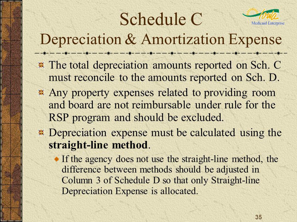 35 Schedule C Depreciation & Amortization Expense The total depreciation amounts reported on Sch. C must reconcile to the amounts reported on Sch. D.
