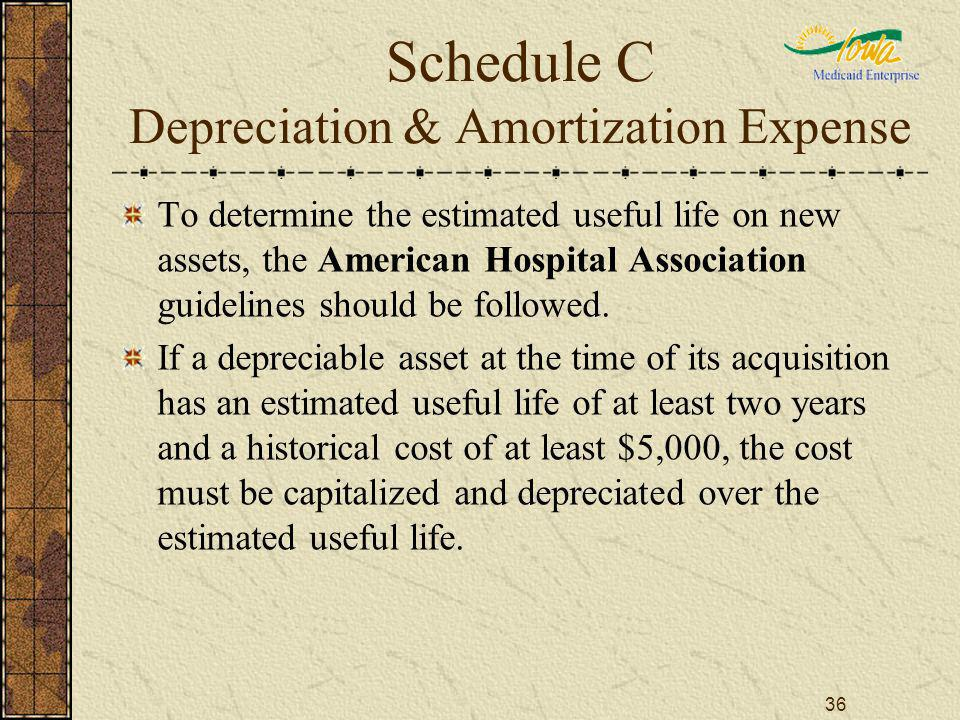 36 Schedule C Depreciation & Amortization Expense To determine the estimated useful life on new assets, the American Hospital Association guidelines should be followed.